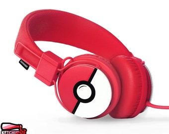 Poke-phones Urbanears headphones earphones white red hand painted