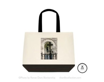 Black Cross Tote - Soft Canvas Tote Bag - Monastery Photo - Sacré Cotton Bag - Two Tone Tote - theRDBcollection