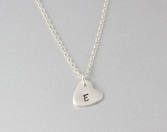 Heart Initial Necklace - Hand Stamped Heart Necklace - Small Heart Necklace - Personalised Heart Necklace - Sterling Silver