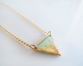 Mint Gold Triangle Adjustable Necklace - Geometric Necklace