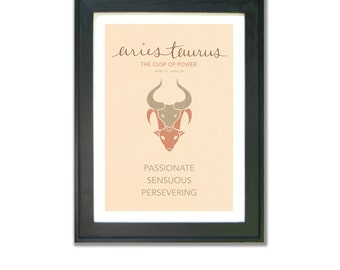 Aries Taurus Cusp Sign Print. Astrological Cuspian Art. Birthday. Astrology, Star Sign, Constellation.