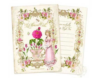 Marie Antoinette high tea invitations, Let them Eat Cake, set of 4 cards
