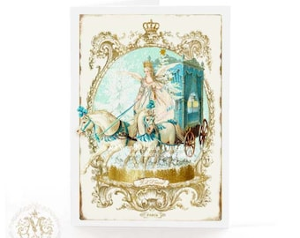 Snow Queen, snow globe, Christmas card, let it snow, Marie Antoinette, white horse, carriage, snow dome, Christmas tree, holiday card