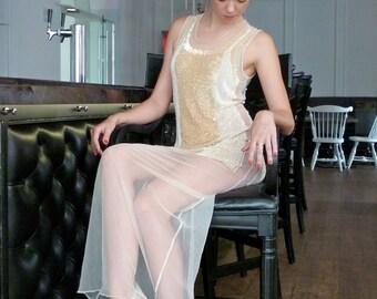 Gaultier Goddess  Column Evening Dress Gown Prom Wedding 1920s Gatsby Flapper NEW NWT