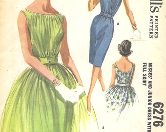 1960s Evening DRESS Vintage Sewing Pattern WIGGLE Dress or FULL Skirt Dress 60s Hollywood ~ McCalls 6276 ~ Bust 31 Formal Party Dress