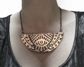 Rising Eye Necklace - Hand drawn and etched copper - made in my studio in Austin, Tx- handmade in Austin, Tx