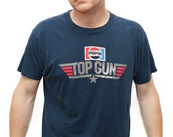 Men's Vintage 80s Top Gun Pepsi T-Shirt  / Red, White and Blue Shirt / Gift for him / Made in USA / Size Medium