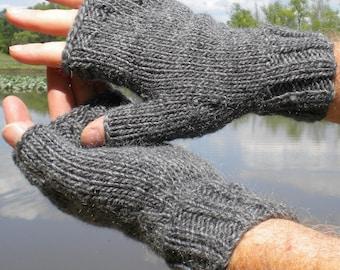 Fingerless Gloves Men's Fingerless Gloves Handknit Charcoal Gray Merino Wool & Mohair Handknit Men's Fingerless Gloves Handwarmers Gloves