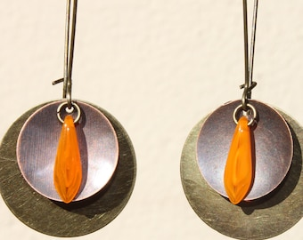 Orange Earrings Mixed Metal Earrings Dangle Earrings Boho Bohemian Jewelry Earrings Long Earrings