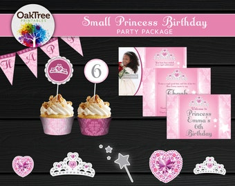 Small Princess Birthday Party Package Set - Printable - DIY - Invitation Included - 7 Items