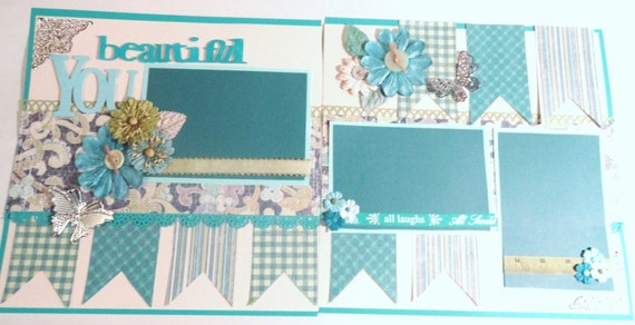"12 x 12 Double Page Scrapbook Layout ""Beautiful  You"""