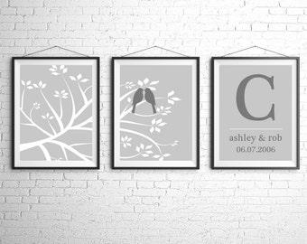 Personalized Wedding Gift, Custom Wall Art Print, Tree Bird Print, Wedding Day Print Personalized Wall Art, Wedding Tree Unique Wedding Gift