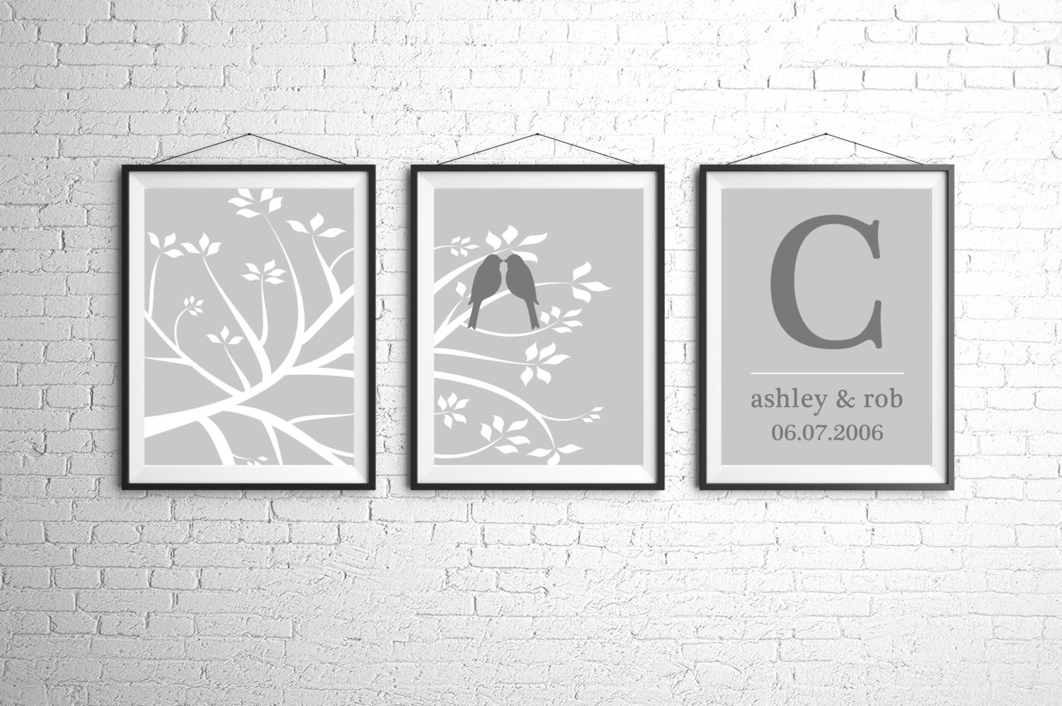 Wedding Gift Wall Art : Personalized Wedding Gift Custom Wall Art Print Tree Bird