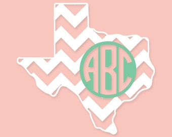 Chevron State 2 Color Monogrammed DECAL STICKER - Customizable