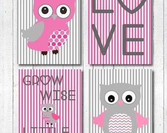 Baby Girl Nursery Decor, Pink and Grey Nursery Decor, Owl Nursery Decor, Nursery Print, Nursery Wall Art, Birth Print, New Baby Girl Gift