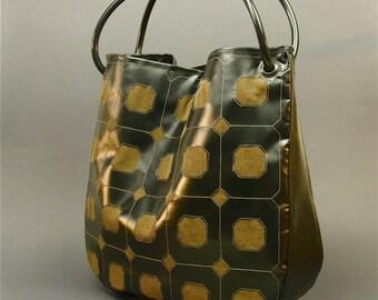 tote bag: tarp and cord (black/brown)