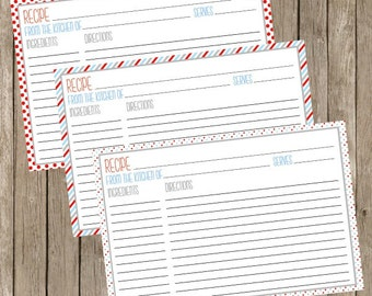 Recipe Cards Printable Instant Download Red, Blue & Gray