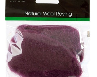 Trimits MAUVE 100% Natural Wool Roving 10g for Needle felting spinning