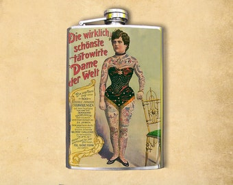 Tattooed Woman 8oz Flask
