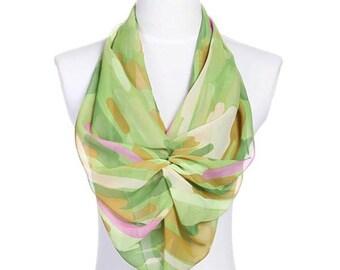 Womens Scarf, Green Scarf, Floral Print Scarf, Chiffon Scarf, Voile Scarf, Cotton Scarf, Fashion Scarf, Shawl, Womans Scarf
