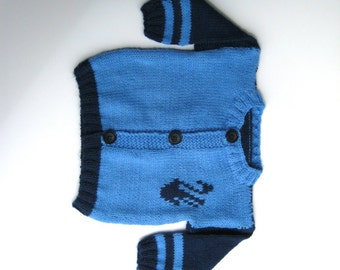 Handmade Knitted Baby Cardigan with Swans