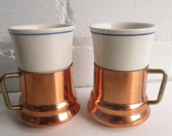 Pair of Ceramic and Copper Espresso Cups. Vintage Coffee Cups. Farmhouse Kitchen Coffee Cups. Pour over Coffee Cups.