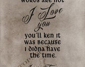 If my last words are not I love you 11x14 Print on Chalkboard or vintage Outlander Jamie Fraser Quote