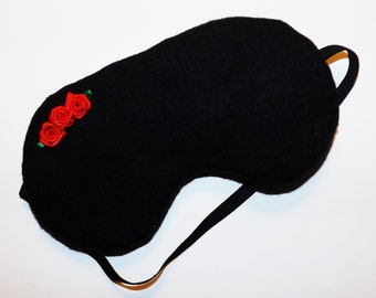 Black with Roses Sleep Mask - Pick Color for Roses