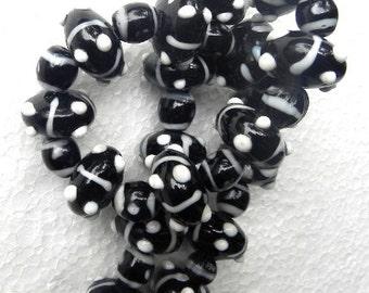 "19"" long Lampwork handmade roundley bumpy bead string  / beading craft/jewelry craft/craft supplies/jewellery making"