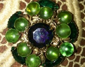 Vintage 40's or Early 50's, Green RHINESTONE Madmen BROOCH, Prong Set Pin