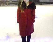 SALE: Fab 50's 60's Crimson BOUCLE WooL, Vintage 1960's Coat, MINK Fur Trim, size 6-8