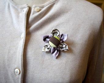 Pale Purple and Brown Fabric Flower Brooch, Flower Pin - Handmade Fabric Flower