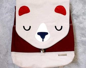 Bear Backpack, Bear Bag, Laptop Backpack, Diaper Backpack, Bear Diaper Bag, Padded Backpack, Gray Backpack, Red Backpack - BEIGE BROWN Color