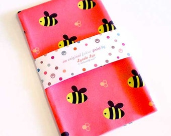FAT QUARTER fabric, quilting weight, cotton fabric, BEE print fabric, pink fabric, quilting fabric, Busy Buzzy Bees print, cute fabric print