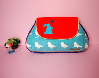 Rabbit Purse, Clutch Purse, Bunny Purse, Bunny Love Clutch, Sparrows On Blue Fabric