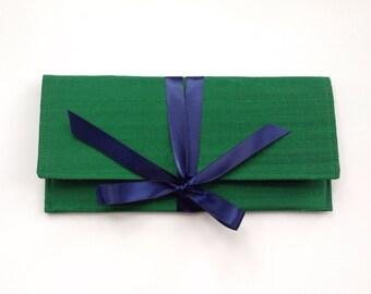 Emerald green clutch bag // Green silk bridesmaids clutch // Navy and green purse
