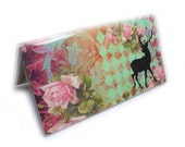 Pretty Checkbook Cover - Oh Deer - vintage roses - mint and pink shabby Victorian - deer silhouette - top tear or side tear