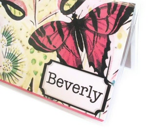 Personalized checkbook cover - Deco Butterfly - vintage inspired checkbook cover - customize name - pink floral - retro