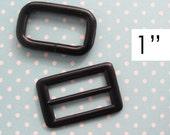 Strap Adjuster Hardware | 1 Inch Messenger Bag Cross Body Bag Strap Hardware | Bag Making Supplies | Black Triglide Rectangle Ring Set