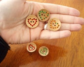 Stitched Heart Wood Buttons - wood with stitched heart design in various colors, 25mm, light, great for knitwear