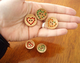 Stitched Heart Wood Buttons - set of three with stitched heart design in various colors, 20mm, light, great for knitwear