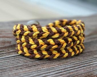 Braided Hemp Wrap Bracelet - Yellow, Gold, and Brown