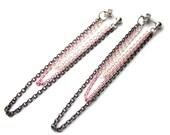 Chain Stud Earrings, Silver Dangle Chain Earrings, Pink Chain Earrings, Gunmetal Chain Earrings