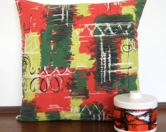 Vintage 50s Pillow -  Cushion Atomic Eames Era - Abstract Design
