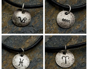 Capricorn Aquarius Pisces Aries - Hammered Sterling Zodiac Pendant on Black Leather Necklace
