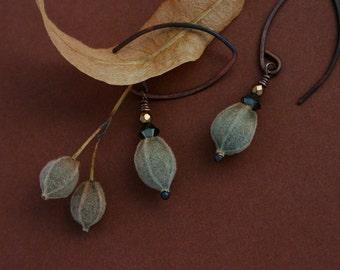 copper earrings with linden tree seeds - rustic jewelry - drop earrings - eco friendly - woodland - earthy