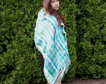 Ocean, a Small Wrap in beige, turquoise and white