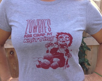 XL American Apparel Zombies are Crap at Knitting Women's T-Shirt Grey