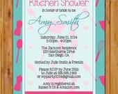 Kitchen Shower Invite Stock the Kitchen Invitation Bring a Recipe Couple's Shower Turquoise Hot Pink Printable 5x7 Digital JPG Invite (243)