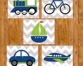 Instant Download Things That Go Transportation Plane Train Car Boat Bike Wall Art Boy's Room Decor Navy Green Printable 8x10 JPG Files (129)